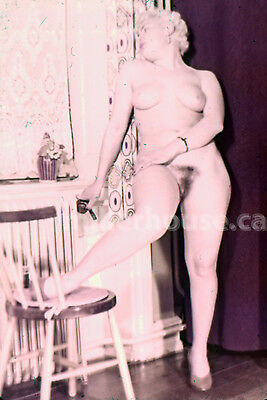 1950's Busty Blonde Original Nude Pin-Up 35mm Film Transparency Slide Photo #8