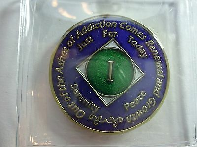 NA Tri-Plate Narcotics Anonymous Blue Green&Gold Coin 1 Year Medallion
