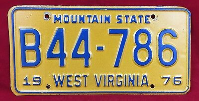 1976 West Virginia Mountain State Truck License Plate Tag B44-786