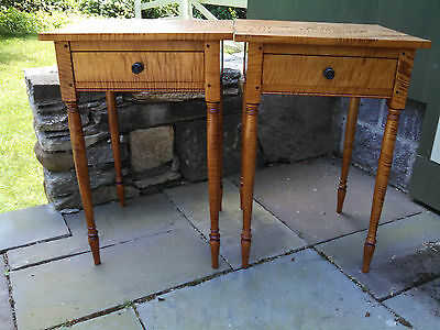 Tiger Maple Sheraton Side Tables