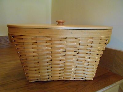 Longaberger Oval Laundry Basket Set w/ Lid nice big handy 2001 *free shipping!*