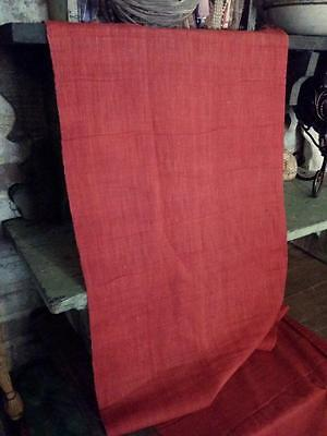"Antique 19thc Linen Fabric Turkey Red Solid Both Original Selvage 26"" x 12"""