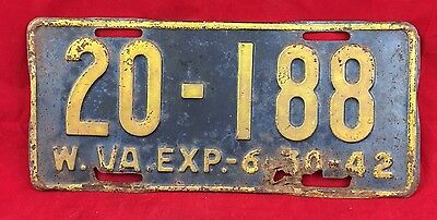 1942 West Virginia License Plate Tag 20-188