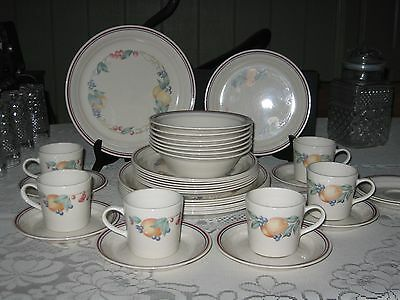 Corelle Abundance 8 Dinner plates, 8 luncheon 8 Saucers 7 bowls 6 Cups Retired