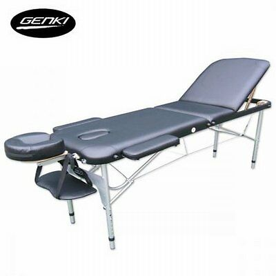 NEW Portable Genki 3-Section Aluminium Massage Table Chair Bed Foldable - Black
