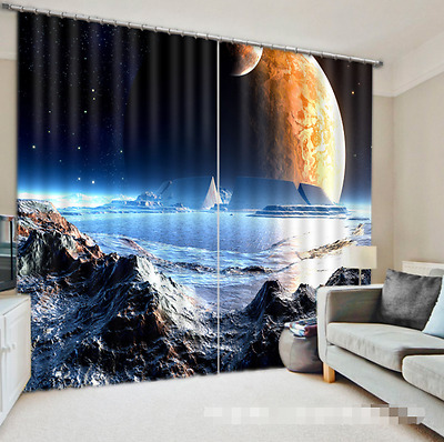 3D Planet Road Blockout Photo Curtain Printing Curtains Drapes Fabric Window CA