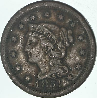 160 Years OLD - 1851 - US Type Coin Braided Hair Large Cent - Nice Shape *531