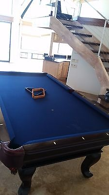 Billiard table set w/: cover, cue sticks & stand; chalk,  triangle rack; balls