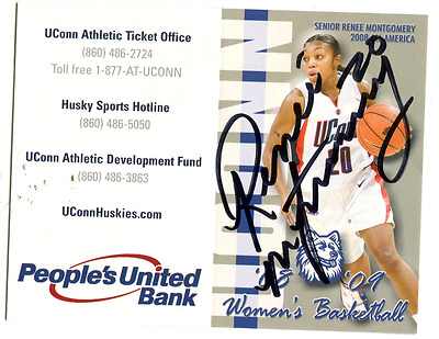 RENEE MONTGOMERY UConn women basketball SIGNED AUTOGRAPHED 2008 schedule card