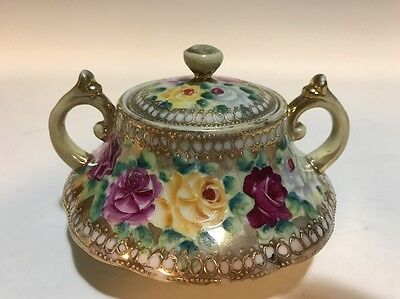 Antique Nippon Hand Painted Moriage Roses Footed Lidded Sugar Dish/Pot Leaf Mark