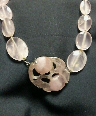 Antique / Vintage Asian Rose Quartz Beaded Necklace w/ Carved Pendant and Beads