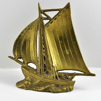 Vintage Brass Ship Sailboat Figure Paperweight Nautical Decor Paper Weight Boat
