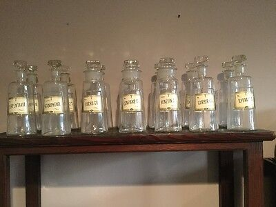 Set of Vintage REXALL Drug Store Apothecary Bottles ( 14 )