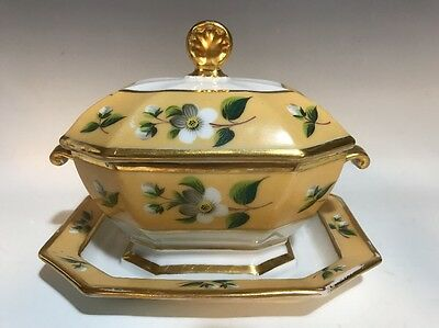 19C French Old Paris Porcelain HP Gilt Sauce Tureen-Attached Underplate #1
