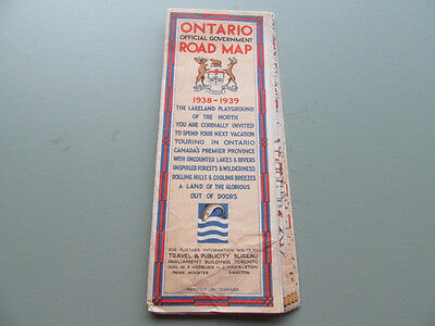 1938 Ontario Official Government Road Map