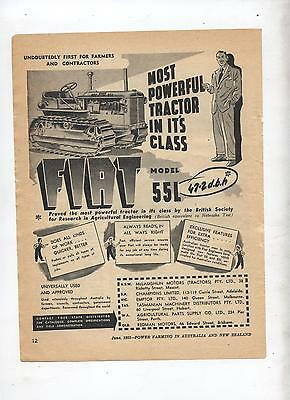 Fiat 55L Crawler Tractor Advertisement removed from 1953 Farming Magazine