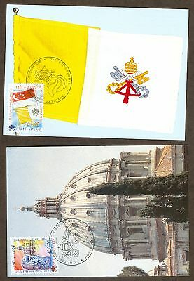 Vatican City Sc# 1336-7: Diplomatic Relations with Singapore, 2 Maxi Cards