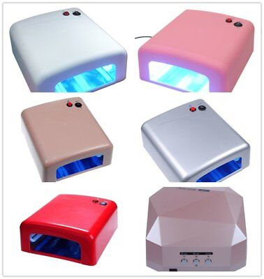 36W Gel Polish Curing UV Lamp Nail Art Shellac Dryer With Timer & 4 Bulbs