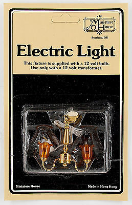 "Miniature Dollhouse Lights 1:12 Scale # 724 ""2-Light Chandilier (Amber) **"