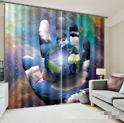 3D Planet Bule Blockout Photo Curtain Printing Curtains Drapes Fabric Window CA