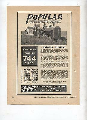 Massey Harris 744 Tractor Advertisement removed from 1953 Farming Magazine