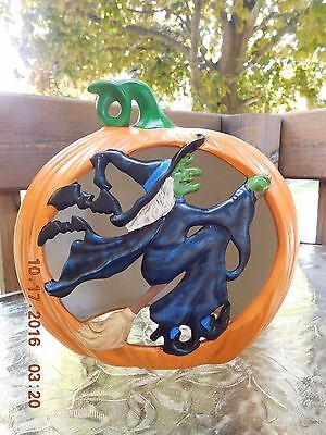 Vintage Halloween Ceramic Cut-Out Pumpkin Jack O Lantern Witch on Broom