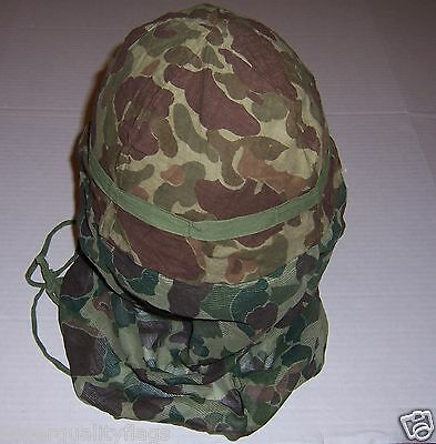 Camo helmet & face cover WWII US military genuine mosquito net world war 2
