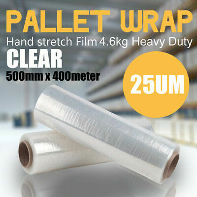 2 Rolls 500mm x 400m Meter - 25U CLEAR - Hand Stretch Film Pallet Wrap Wrapping