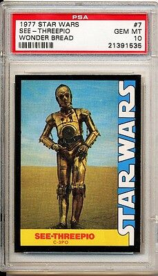 1977 Star Wars Wonder Bread Cee-Threepio C3PO #7 PSA 10 Gem Mint !