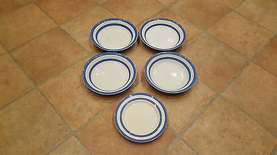 "4 x T G Green Blue & White Cornish Ware Salad Dishes 8"" Green Stamp 1 X side"