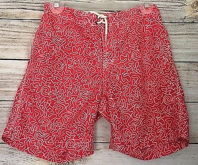 Boys TRUNKS Surf & Swim Co. Red Print Board Shorts Swim Bathing suit ~ Size L