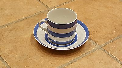 T G Green Cornishware Blue Cup And Saucer Green Stamp Vintage