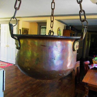 Vintage Hanging Copper Planter-Long Chain w/ Hook