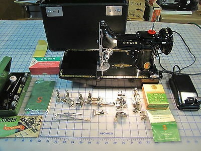 Singer Red S 221K-4 Featherweight Sewing Machine W/attachments Case