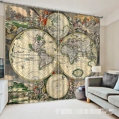 3D Planet Paint Blockout Photo Curtain Printing Curtains Drapes Fabric Window CA