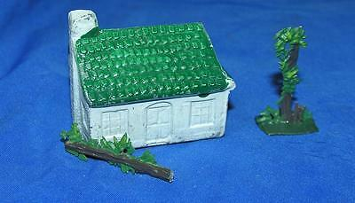 Vtg 1950's Miniature Lead House, Tree, Hedge, Grt Xmas Putz Village