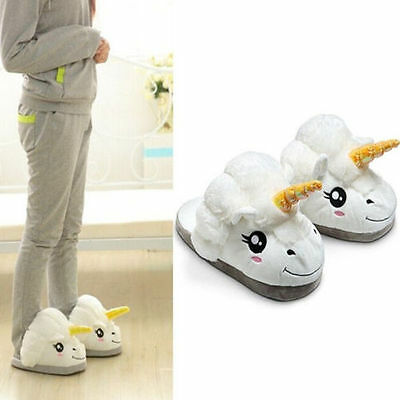 Adult Women Girls Plush Cute Unicorn Slippers Winter Warm Soft Home Indoor Shoes