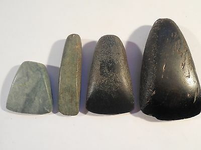 4 Mayan Celts Jade Obsidian Pre-Columbian Archaic Ancient Artifacts Olmec Toltec