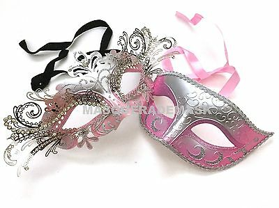 Princess Couple Baby Pink Masquerade Ball Mask Pair Graduation Prom Dance Party