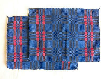 Early 20th Century Antique Hand Woven Woolen Pillowcase Lot of Two NEW UNUSED!