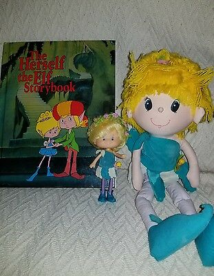 Vintage 1982 Herself the Elf lot Rag Doll, Book, Poseable doll