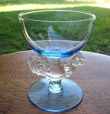 1950s Morgantown Chanticleer Rooster Cocktail Liquor Glass Goblet Blue Bowl Foot