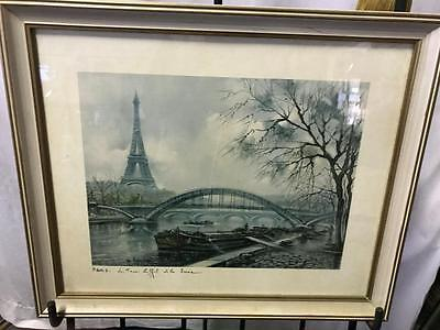 Vintage Maurice Legendre (1928-) French Art Impressionist Print.the Eiffel Tower