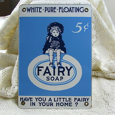 Vintage Fairy Soap Grocery Store Porcelain Sign Metal 1940's Advertising Laundry