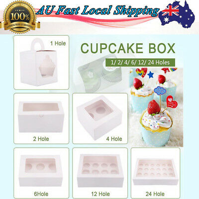 Paper Cupcake Box Range 1/2/4/6/12/24 Holes Window Party Wedding Baby Shower AU