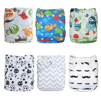 6 Pcs Cute Baby Diapers &12 Inserts, Reusable, Washable, Adjustable for all size