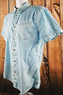 Calvin Klein Jeans Button Front Collared Casual Size Medium Short Sleeve Shirt