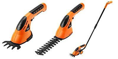 Orange Cordless Grass Shears Hedge Trimmer Handheld Wheeled Extension Handle