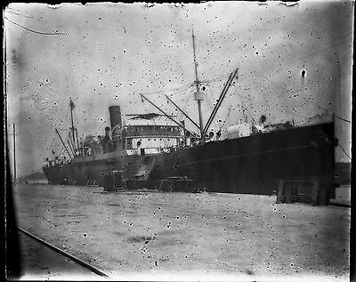Antique 4x5 Glass Plate Negative Large Commercial Fishing Ship at Dock (V4406)