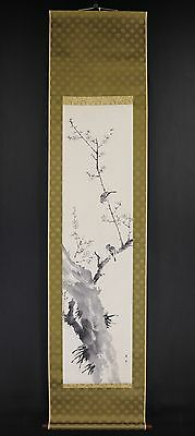 """JAPANESE HANGING SCROLL ART Painting """"Sparrow and Blossoms""""  #E5795"""